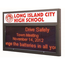 Multi-Configuration Bronze Anodized Marquee Red LED Motion Sign System with Sturdy Extruded Weather Proof Aluminum Cabinet and Easy-to-Use Software Included - 45.75