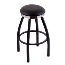 Classic Black Finish Swivel Stool with Black Vinyl and Flat Accent Ring Seat