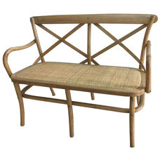 Rustic Sonoma Crossback X02 Bench with Arms and Rattan Seat - Tinted Raw