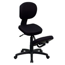 Mobile Ergonomic Kneeling Posture Task Office Chair with Back in Black Fabric