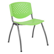 HERCULES Series 880 lb. Capacity Green Plastic Stack Chair with Titanium Frame