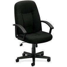 Basyx Mid-Back Managerial Chair with Fixed Loop Arms - Black Fabric