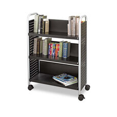 Safco® Scoot Book Cart - Three-Shelf - 33w x 14-1/4d x 44-1/4h - Black