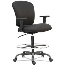 Alera® Mota Series Big and Tall Office Stool with Height-Adjustable Arms and Footring - Black