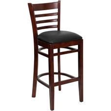 Mahogany Finished Ladder Back Wooden Restaurant Barstool with Black Vinyl Seat