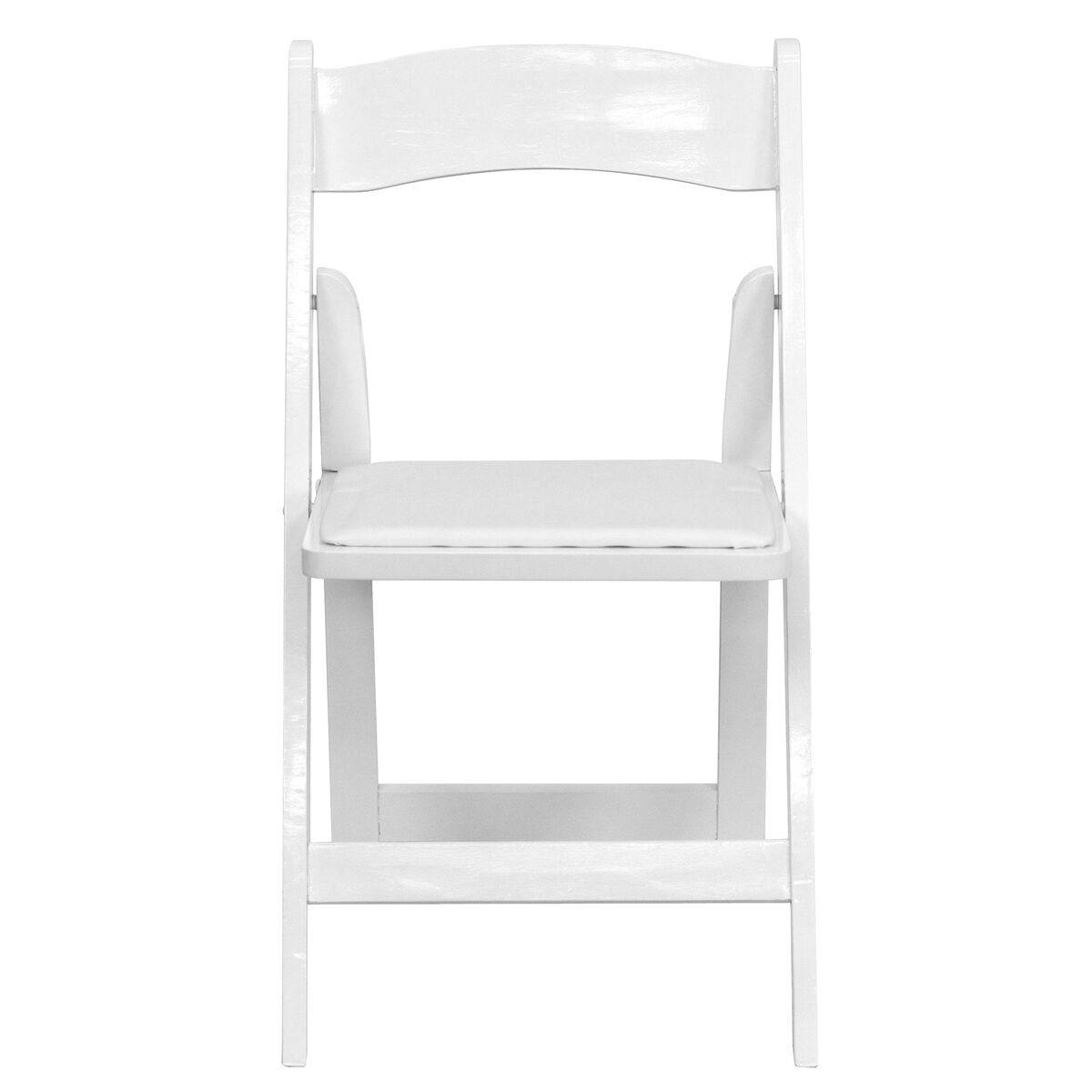 Hercules Series White Wood Folding Chair With Vinyl Padded