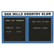2 Door Outdoor Enclosed Directory Board with Header and Blue Anodized Aluminum Frame - 36