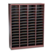 Safco® Wood/Fiberboard E-Z Stor Sorter - 60 Slots - 40x11 3/4x52 1/4 - Mahogany - 2 Boxes