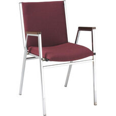 Quick Ship 400 Series Stacking Square Steel Frame Hospitality Armchair with Full Back and 2