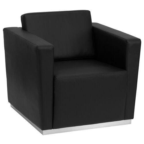 HERCULES Trinity Series Contemporary Black LeatherSoft Chair with Stainless Steel Base