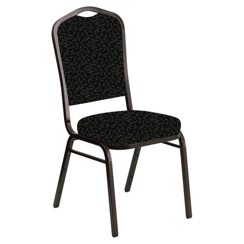 Our Embroidered Crown Back Banquet Chair in Jasmine Pewter Fabric - Gold Vein Frame is on sale now.