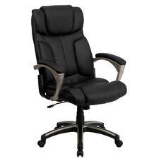High Back Folding Black Leather Executive Swivel Office Chair with Arms