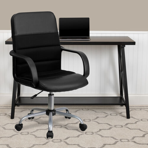 Our Mid-Back Black LeatherSoft and Mesh Swivel Task Office Chair with Arms is on sale now.