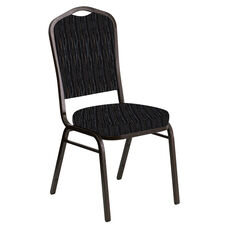 Embroidered Crown Back Banquet Chair in Mystery Ebony Fabric - Gold Vein Frame