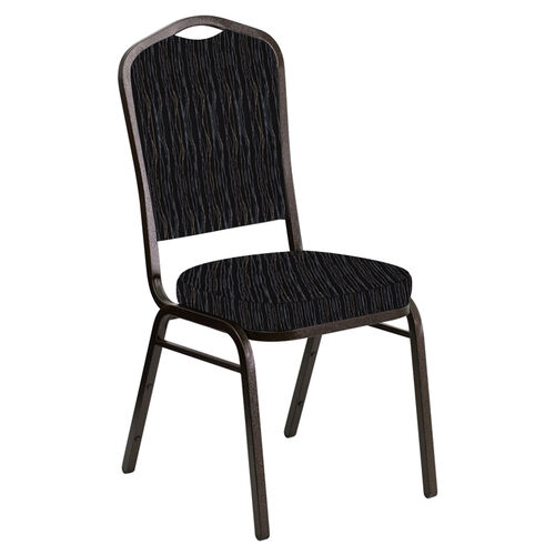 Our Embroidered Crown Back Banquet Chair in Mystery Ebony Fabric - Gold Vein Frame is on sale now.