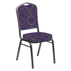 Embroidered Crown Back Banquet Chair in Watercolor Jazz Fabric - Silver Vein Frame