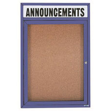 1 Door Indoor Illuminated Enclosed Bulletin Board with Header and Blue Powder Coated Aluminum Frame - 24