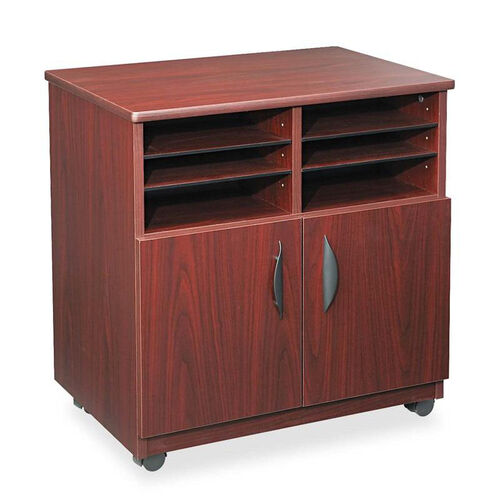 Safco® Laminate Machine Stand w/Sorter Compartments - 28w x 19-3/4d x 30-1/2h - Mahogany