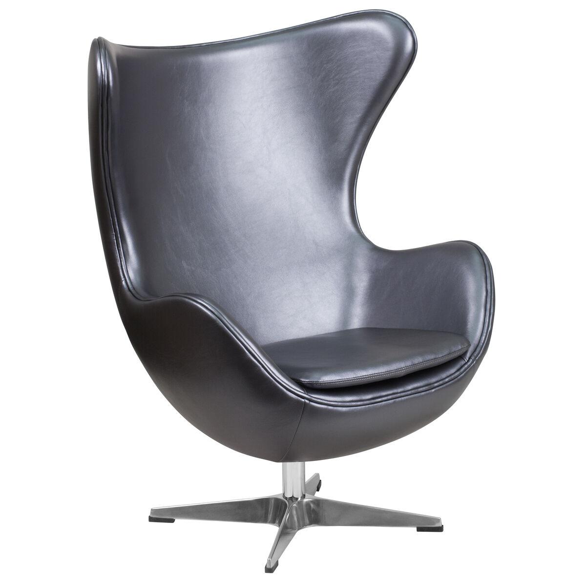 Surprising Gray Leather Egg Chair With Tilt Lock Mechanism Ibusinesslaw Wood Chair Design Ideas Ibusinesslaworg