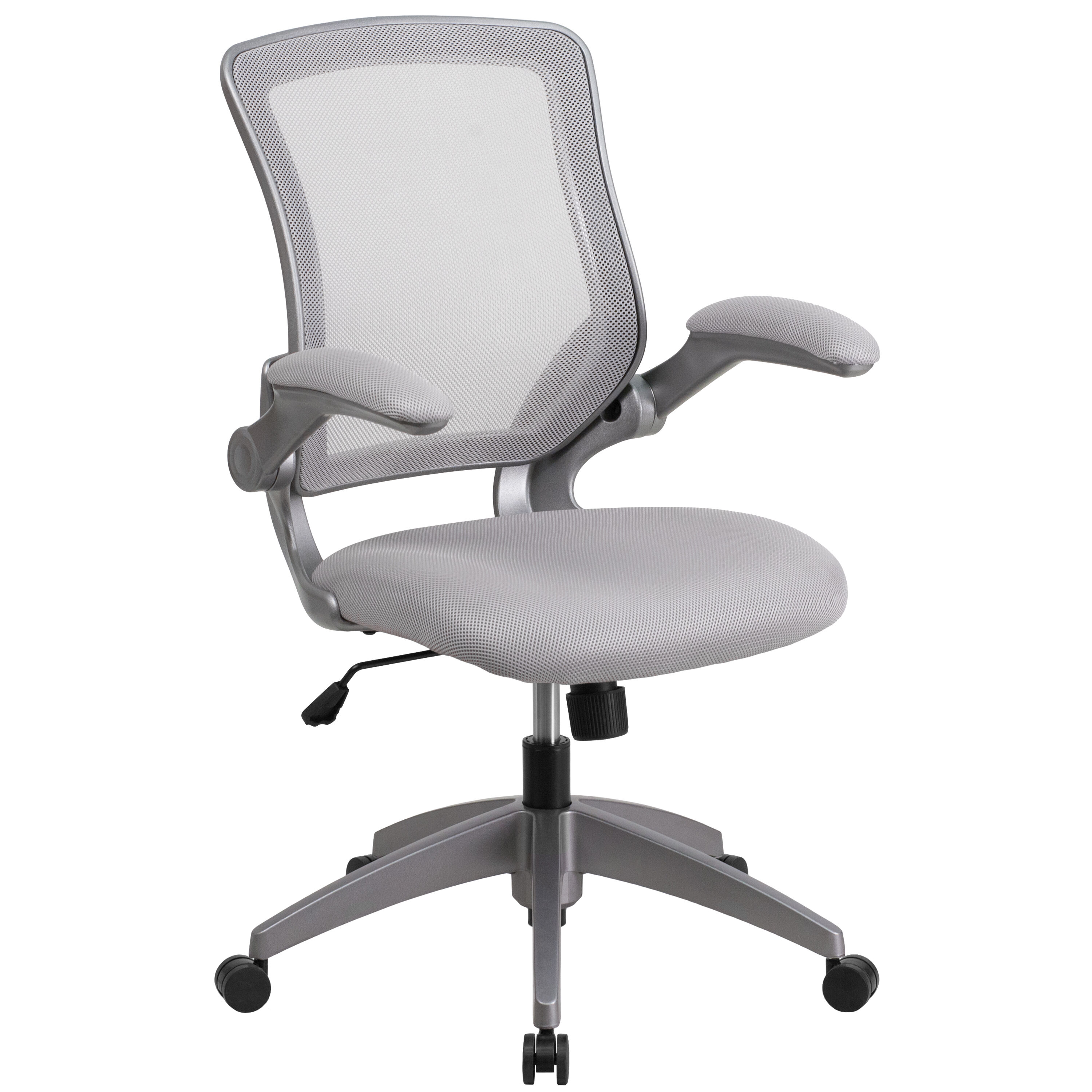 Mid Back Gray Mesh Swivel Ergonomic Task Office Chair With Gray Frame And Flip Up Arms