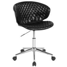 Cambridge Home and Office Upholstered Mid-Back Chair in Black Vinyl