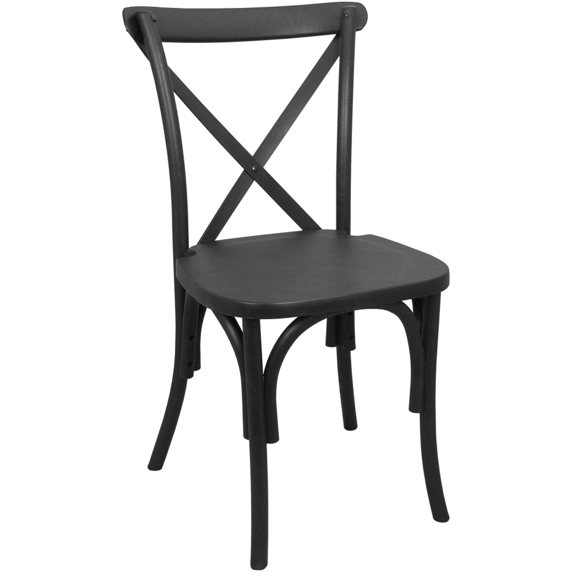 Black Resin X Back Chair Resxb Black Churchchairs4less Com