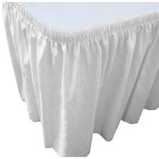 Wave 21 Foot Shirred Pleat Table Skirt with SnugTight™ Clips - White