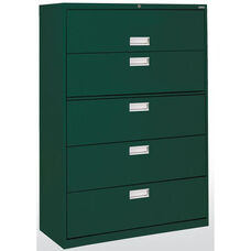 600 Series 42'' W x 19.25'' D x 66.38'' H Five Drawer Lateral File Cabinet - Forest Green