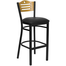 Black Slat Back Metal Restaurant Barstool with Natural Wood Back & Black Vinyl Seat