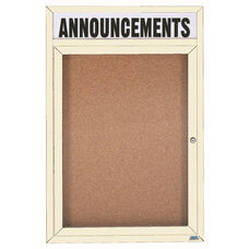 1 Door Indoor Illuminated Enclosed Bulletin Board with Header and Ivory Powder Coated Aluminum Frame - 48