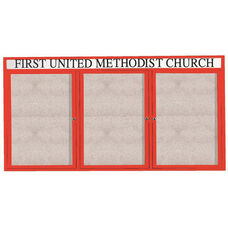 3 Door Outdoor Enclosed Bulletin Board with Header and Red Powder Coated Aluminum Frame - 36
