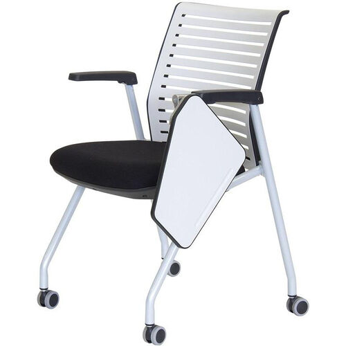 Ace Multi Purpose Nesting Chair with Left Handed Writing Table - Black Seat and White Back