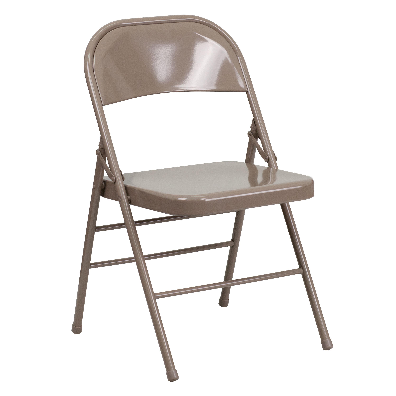 Charmant HERCULES Series Triple Braced U0026 Double Hinged Beige Metal Folding Chair