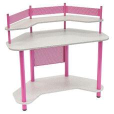 Compact Corner Computer Study Desk - Pink and Splatter Grey