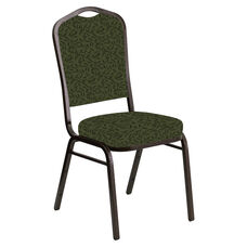 Embroidered Crown Back Banquet Chair in Jasmine Fern Fabric - Gold Vein Frame