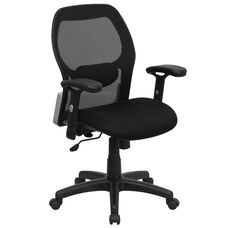 Mid-Back Black Super Mesh Executive Swivel Chair with Adjustable Arms