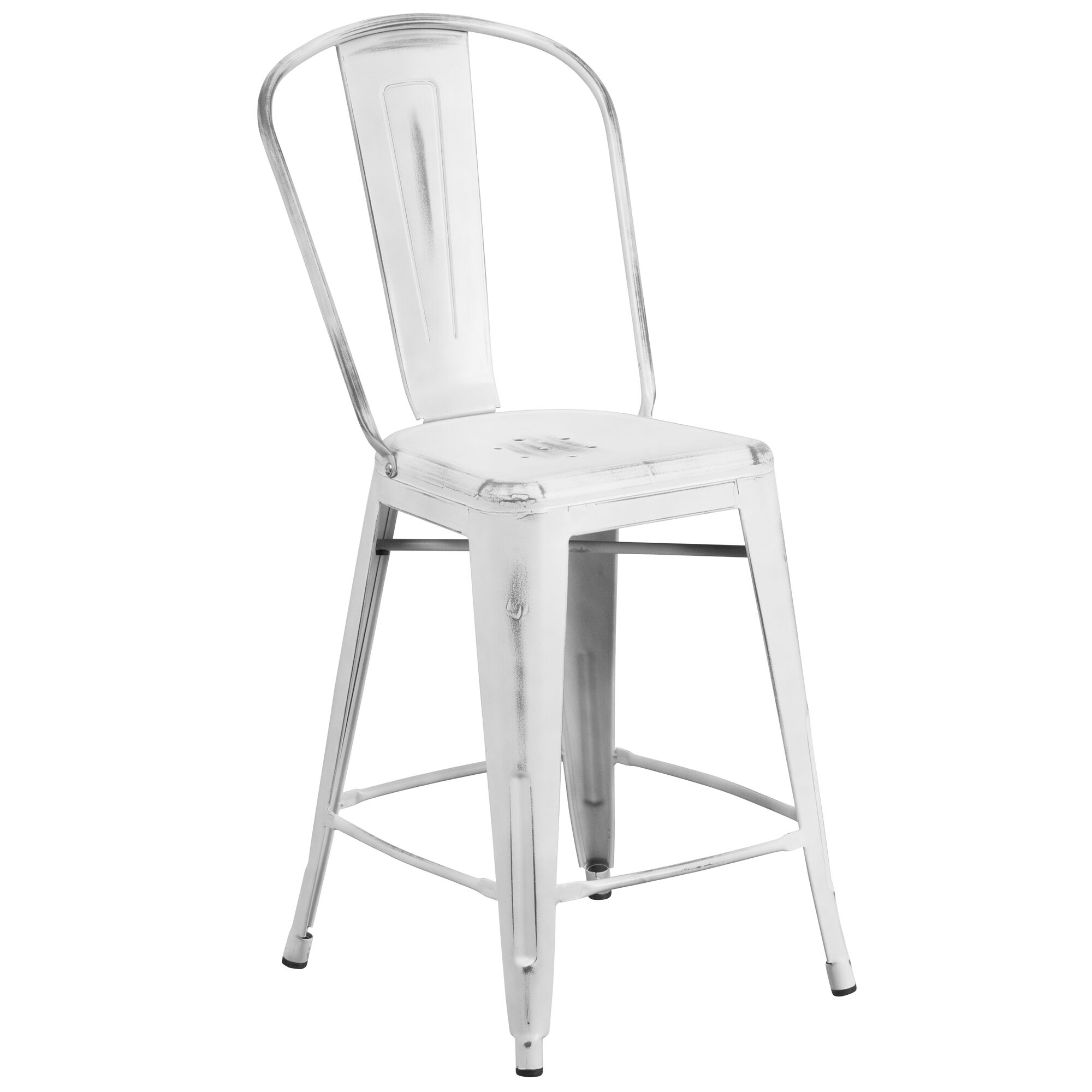 Distressed White Metal Stool Et 3534 24 Wh Gg Churchchairs4lesscom