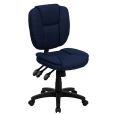Mid-Back Navy Blue Fabric Multifunction Swivel Ergonomic Task Office Chair with Pillow Top Cushioning