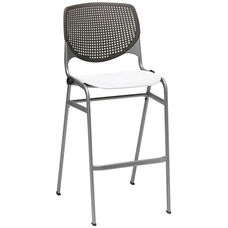 2300 KOOL Series Stacking Poly Armless Barstool with Brownstone Perforated Back and White Seat