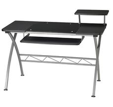 Vision Computer Desk with White Glass Inset and Slide Out Keyboard Tray - Anthracite