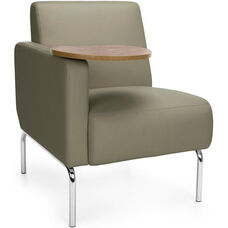 Triumph Right Arm Modular Lounge Chair with Tablet Vinyl Seat and Chrome Feet - Taupe Seat with Bronze Finish Tablet