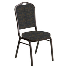 Embroidered Crown Back Banquet Chair in Perplex Cobalt Fabric - Gold Vein Frame