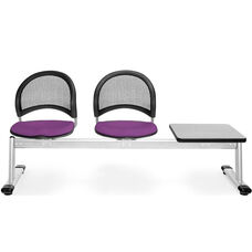 Moon 3-Beam Seating with 2 Plum Fabric Seats and 1 Table - Gray Nebula Finish
