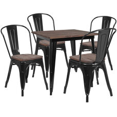 """31.5"""" Square Black Metal Table Set with Wood Top and 4 Stack Chairs"""
