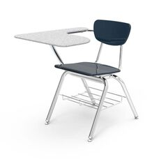 3000 Series Combo Gray Nebula Hard Plastic Tablet Arm Desk with Navy Seat and Chrome Frame - 20