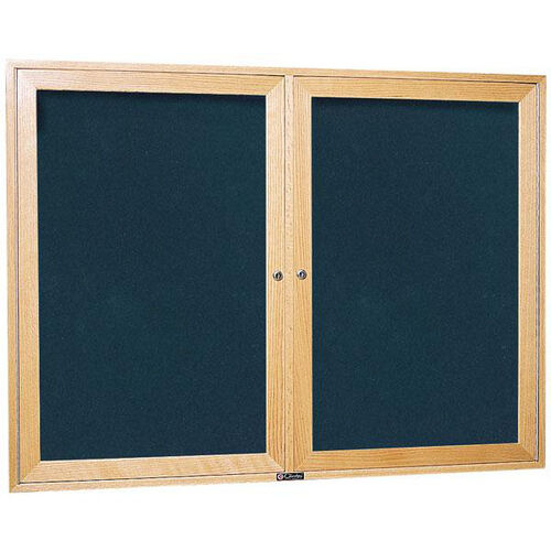 3080 Series Wooden Frame Bulletin Board Cabinet with 2 Locking Tempered Glass Doors - 48