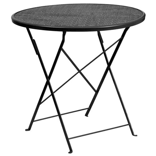 "Our Commercial Grade 30"" Round Black Indoor-Outdoor Steel Folding Patio Table is on sale now."