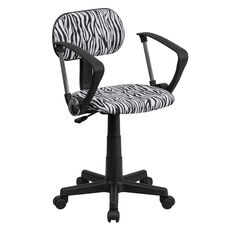 Zebra Print Swivel Task Chair with Arms
