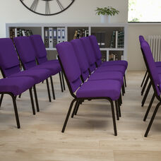 HERCULES Series 18.5''W Stacking Church Chair in Purple Fabric - Gold Vein Frame