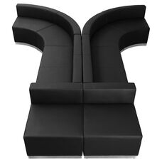 HERCULES Alon Series Black Leather Reception Configuration, 8 Pieces